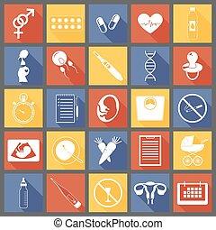 semplice, gravidanza, icone