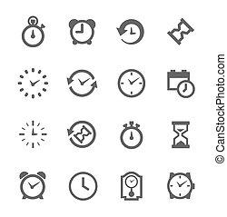 semplice, icona, set, relativo, tempo