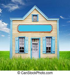 semplice, immagine, casa, capriccio, legno