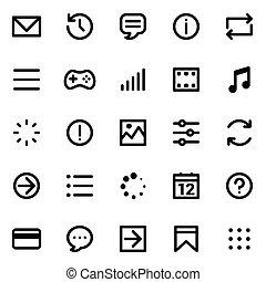 semplice, interfaccia, vettore, set, icone