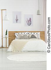 semplice, interno, bianco, camera letto