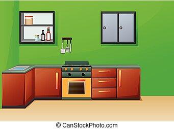 semplice, interno, cucina, mobilia