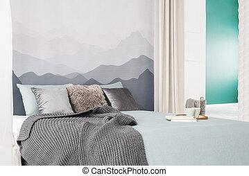 semplice, interno, grigio, camera letto