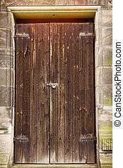 semplice, legno, vecchio, porta, alterato