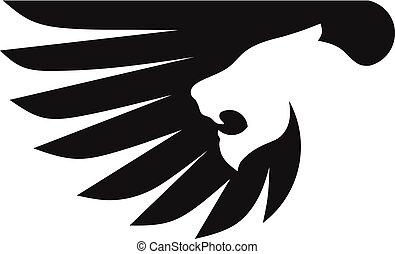 semplice, logotipo, leone, ala