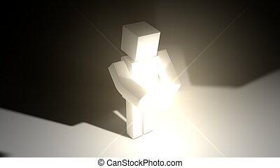 semplice, luce, source., carattere, cubico