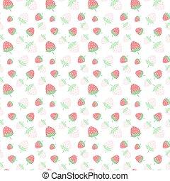 semplice, luminoso, fondo, fragole, seamless, stile, watercolors., fresco, facile, dipinto, contorno, berries., succoso