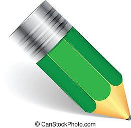 semplice, matita, verde