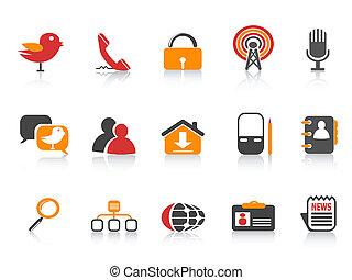 semplice, media, sociale, icone
