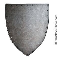 semplice, medievale, stemma, metallo, scudo, isolato