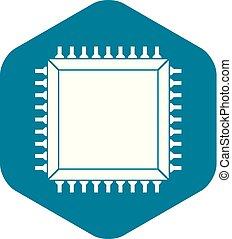 semplice, microchip computer, icona