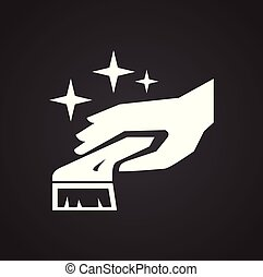 semplice, moderno, disegno, spazzola, trendy, disegno, web, concept., internet, bianco, simbolo, sito web, segno., mano, pulizia, fondo, icona, grafico, mobile, bottone, app., vettore, o