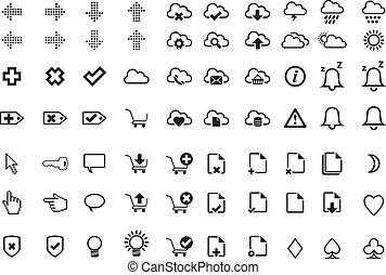 semplice, moderno, icone fotoricettore, -, tempo, e, linea fare spese