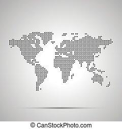 semplice, mondo, silhouette, pixelated, mappa