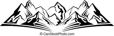 semplice, montagna, silhouette