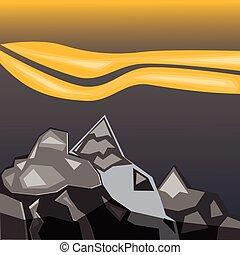 semplice, montagne grigie