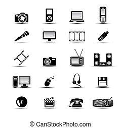 semplice, multimedia, icone