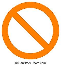 semplice, no, -, isolato, segno, vettore, arancia, spesso