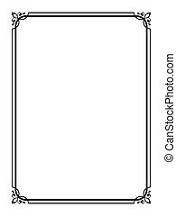 semplice, ornamentale, decorativo, nero, cornice