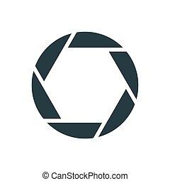 semplice, otturatore, macchina fotografica, concettuale, logotipo