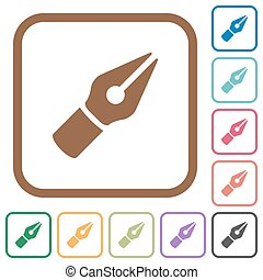 semplice, penna, vettore, icone