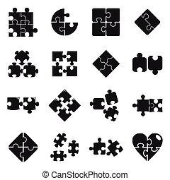 semplice, puzzle, jigsaw, icone, stile, set