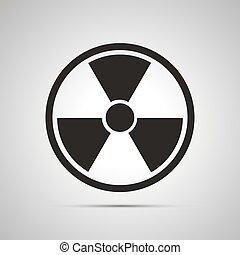 semplice, radiazione, pericolo, nero, icona