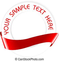 semplice, rosso, medaglione, sigillo, o, vuoto