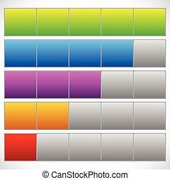 semplice, sbarre., indicators., progresso, fase, progresso, passo, 5-step