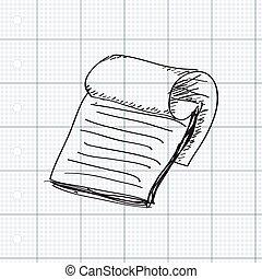 semplice, scarabocchiare, blocco note