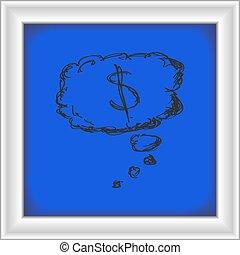 semplice, scarabocchiare, pensiero, soldi