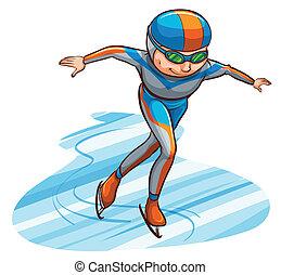 semplice, schizzo, atleta, colorato