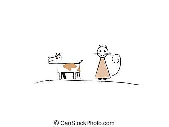 semplice, schizzo, cat;, cane