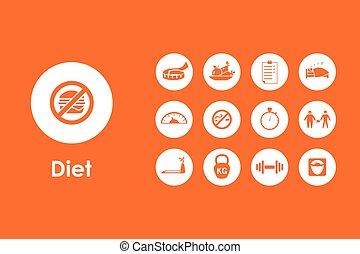 semplice, set, dieta, icone