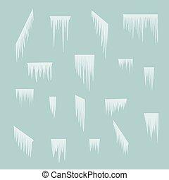 semplice, set, inverno, fondo, ghiaccioli