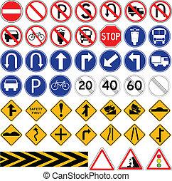 semplice, set, segnale stradale