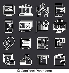 semplice, set, soldi., relativo, icona