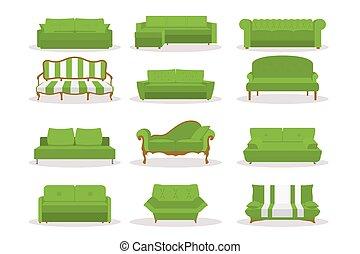 semplice, set, ufficio, disegno, vivente, differente, classico, vendemmia, isolato, divano, divano, lusso, interno, retro, mascherine, appartamento, bsckground., moderno, stile, style., bianco, icona, stanza, cuoio, vettore, verde