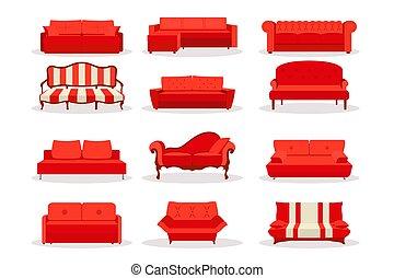 semplice, set, ufficio, disegno, vivente, differente, classico, vendemmia, isolato, divano, divano, lusso, interno, retro, rosso, mascherine, appartamento, bsckground., moderno, stile, style., bianco, icona, stanza, cuoio, vettore