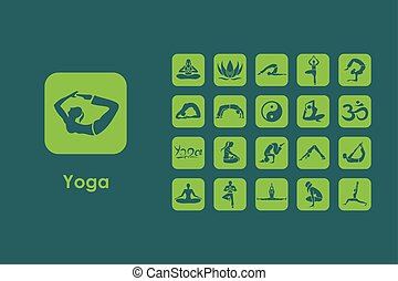 semplice, set, yoga, icone