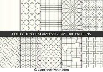 semplice, sfondi, patterns., seamless, collezione, vettore, geometrico