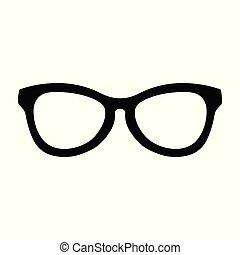 semplice, simbolo, fresco, disegno, occhiali