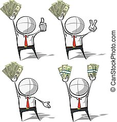 semplice, soldi, -, persone affari