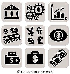semplice, soldi, set, relativo, icona