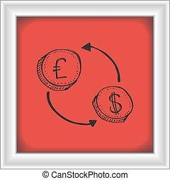 semplice, soldi, trasferimento, scarabocchiare