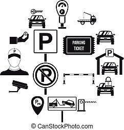semplice, stile, set, icone, parcheggio
