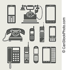 semplice, telefono, set, icona