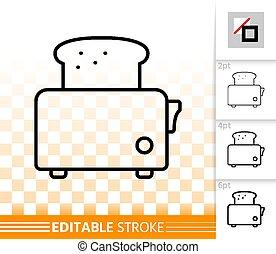 semplice, tostapane, vettore, nero, linea, bread, icona