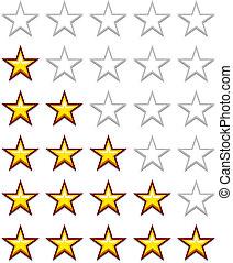semplice, valutazione, vettore, giallo, stelle