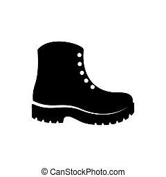 semplice, vettore, nero, stivali, icona